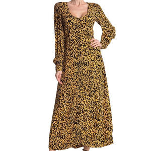 GANNI Goldstone Floral Printed Crepe Maxi Dress 6